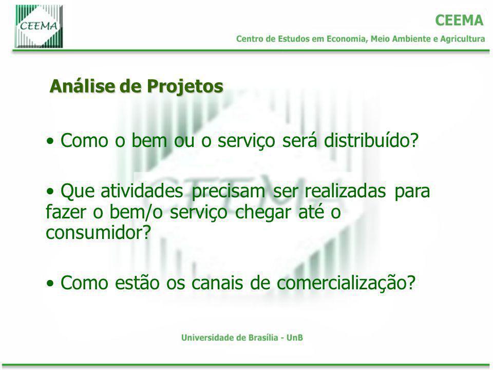Análise de Projetos Como o bem ou o serviço será distribuído? Que atividades precisam ser realizadas para fazer o bem/o serviço chegar até o consumido