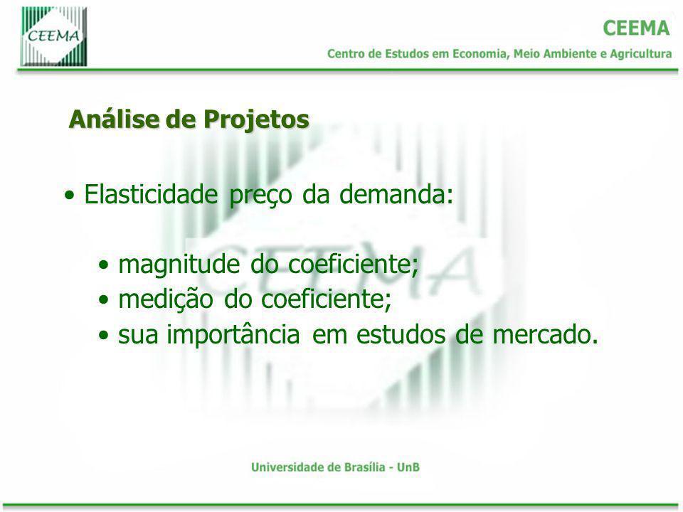 Análise de Projetos Elasticidade preço da demanda: magnitude do coeficiente; medição do coeficiente; sua importância em estudos de mercado.