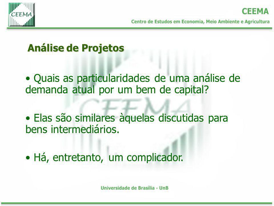 Análise de Projetos Quais as particularidades de uma análise de demanda atual por um bem de capital? Elas são similares àquelas discutidas para bens i