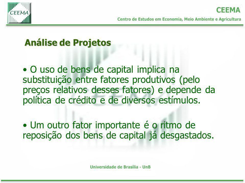 Análise de Projetos O uso de bens de capital implica na substituição entre fatores produtivos (pelo preços relativos desses fatores) e depende da polí