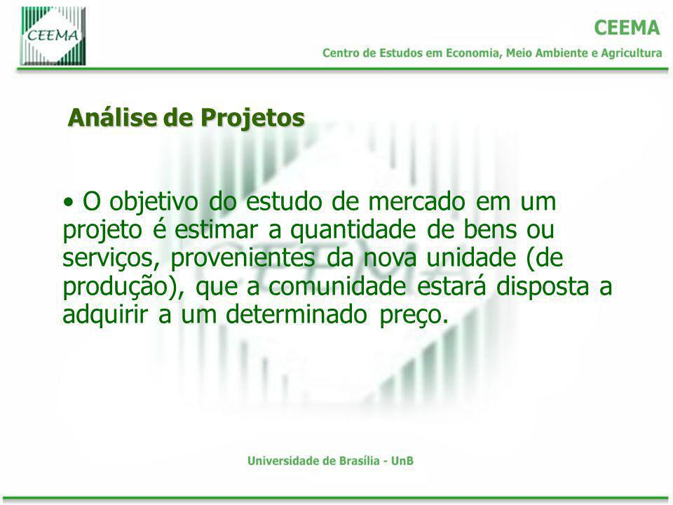 Análise de Projetos O objetivo do estudo de mercado em um projeto é estimar a quantidade de bens ou serviços, provenientes da nova unidade (de produçã