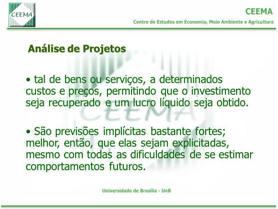 Análise de Projetos tal de bens ou serviços, a determinados custos e preços, permitindo que o investimento seja recuperado e um lucro líquido seja obt
