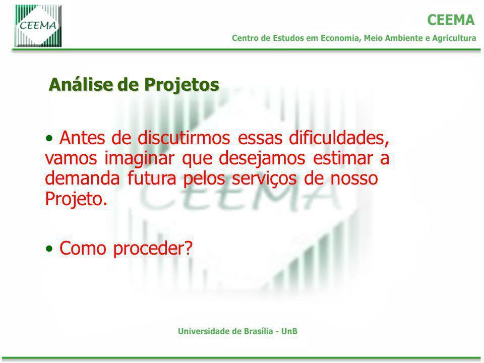 Análise de Projetos Antes de discutirmos essas dificuldades, vamos imaginar que desejamos estimar a demanda futura pelos serviços de nosso Projeto. Co