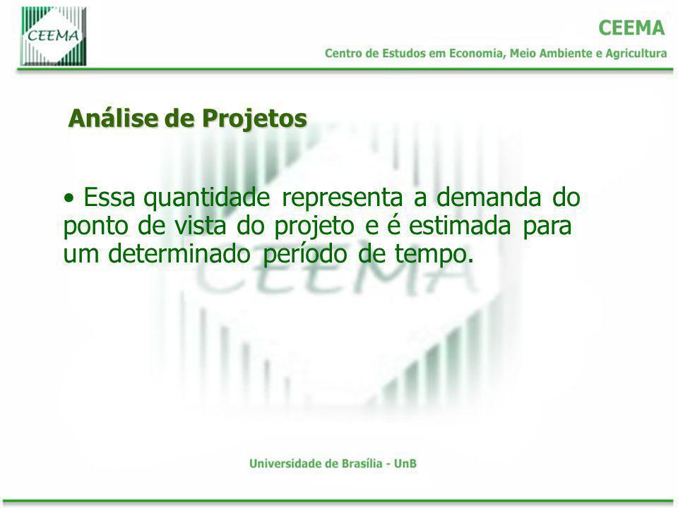 Análise de Projetos Essa quantidade representa a demanda do ponto de vista do projeto e é estimada para um determinado período de tempo.