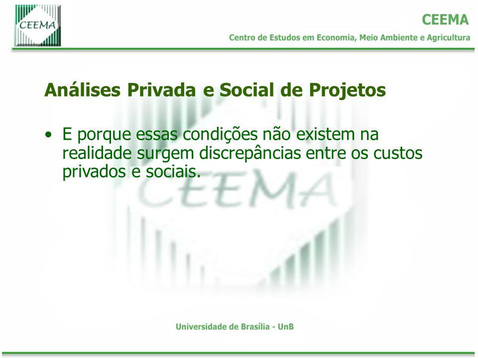 E porque essas condições não existem na realidade surgem discrepâncias entre os custos privados e sociais. Análises Privada e Social de Projetos