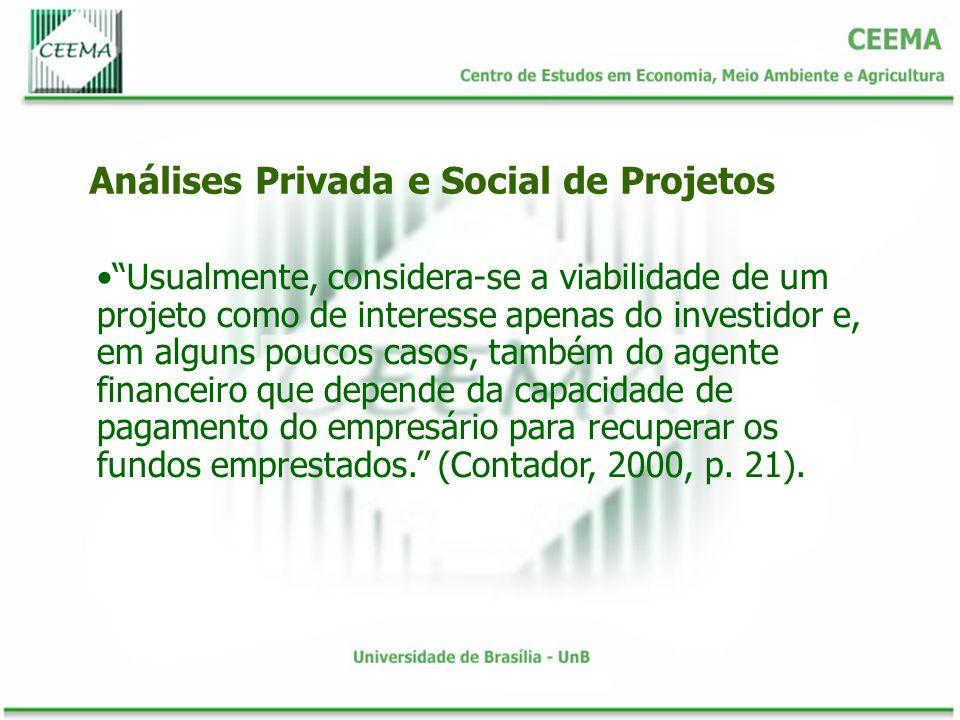Existem economias e deseconomias externas sempre que a renda ou os lucros de um produtor são afetados pelas decisões de outro produtor e essa interdependência acorre de forma direta, e não através do mercado Análises Privada e Social de Projetos