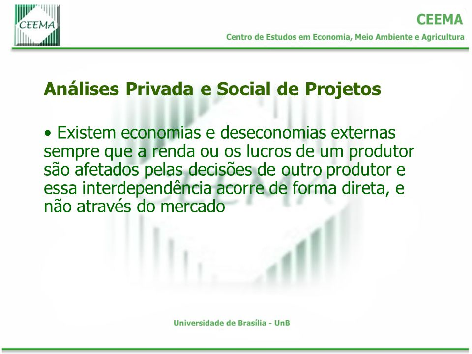 Existem economias e deseconomias externas sempre que a renda ou os lucros de um produtor são afetados pelas decisões de outro produtor e essa interdep