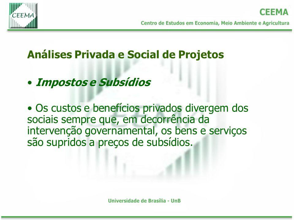 Impostos e Subsídios Os custos e benefícios privados divergem dos sociais sempre que, em decorrência da intervenção governamental, os bens e serviços
