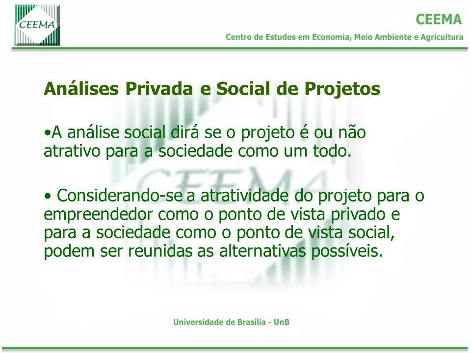 A divergência entre a atratividade de projetos sob o ponto de vista privado e social depende, além das distorções entre preços sociais e de mercado, da natureza dos bens e serviços.