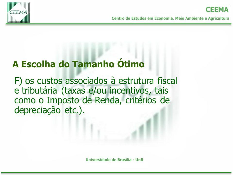 A Escolha do Tamanho Ótimo F) os custos associados à estrutura fiscal e tributária (taxas e/ou incentivos, tais como o Imposto de Renda, critérios de depreciação etc.).