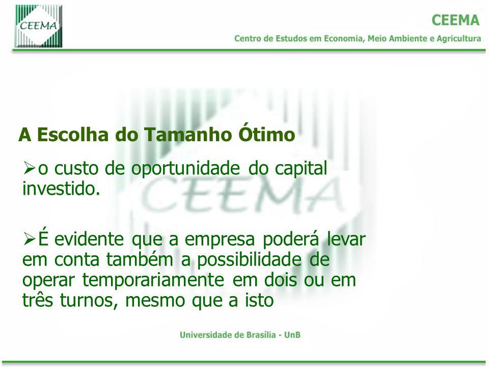 A Escolha do Tamanho Ótimo o custo de oportunidade do capital investido.