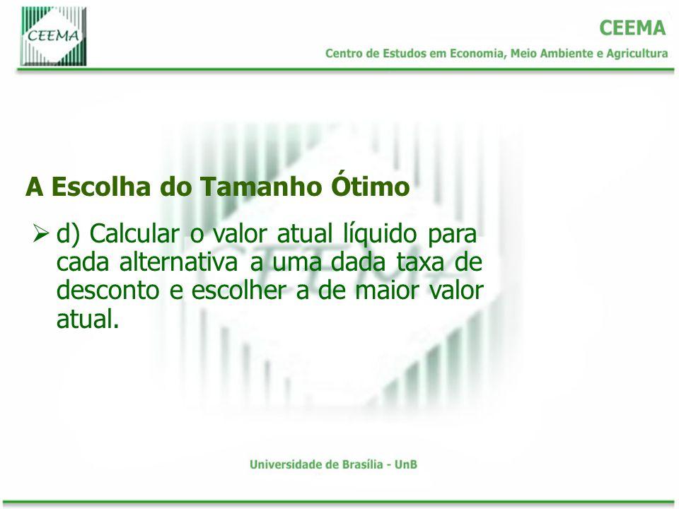 A Escolha do Tamanho Ótimo d) Calcular o valor atual líquido para cada alternativa a uma dada taxa de desconto e escolher a de maior valor atual.