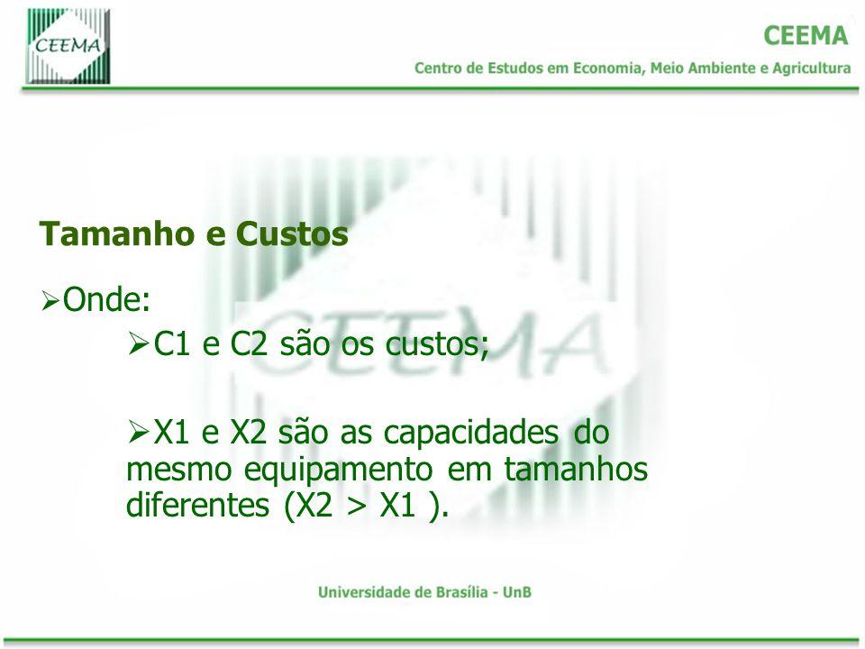 Onde: C1 e C2 são os custos; X1 e X2 são as capacidades do mesmo equipamento em tamanhos diferentes (X2 > X1 ).