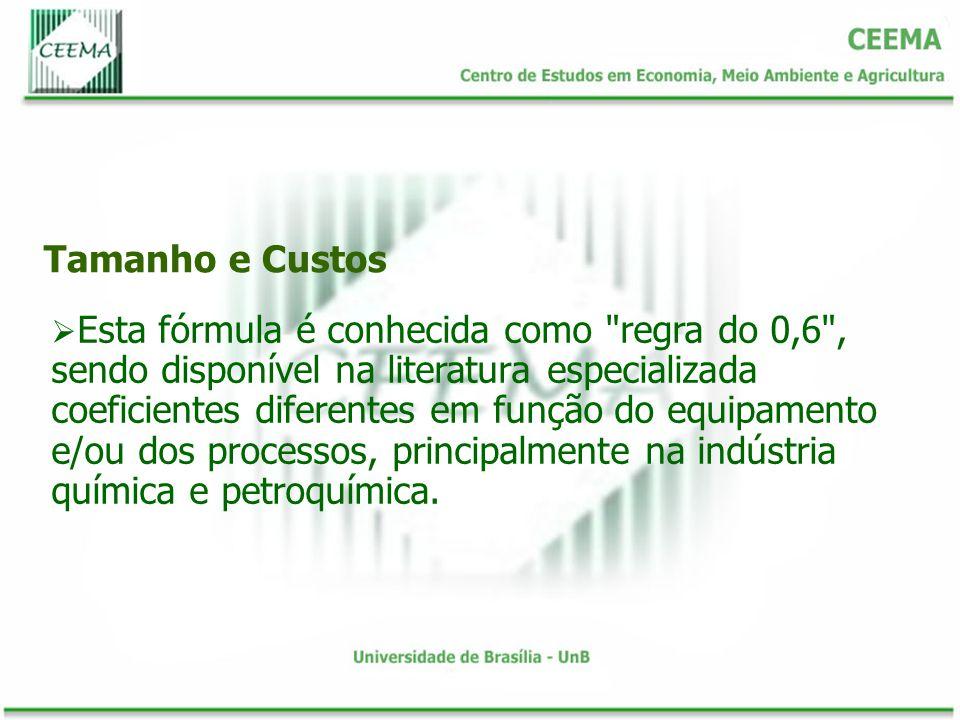 Tamanho e Custos Esta fórmula é conhecida como regra do 0,6 , sendo disponível na literatura especializada coeficientes diferentes em função do equipamento e/ou dos processos, principalmente na indústria química e petroquímica.