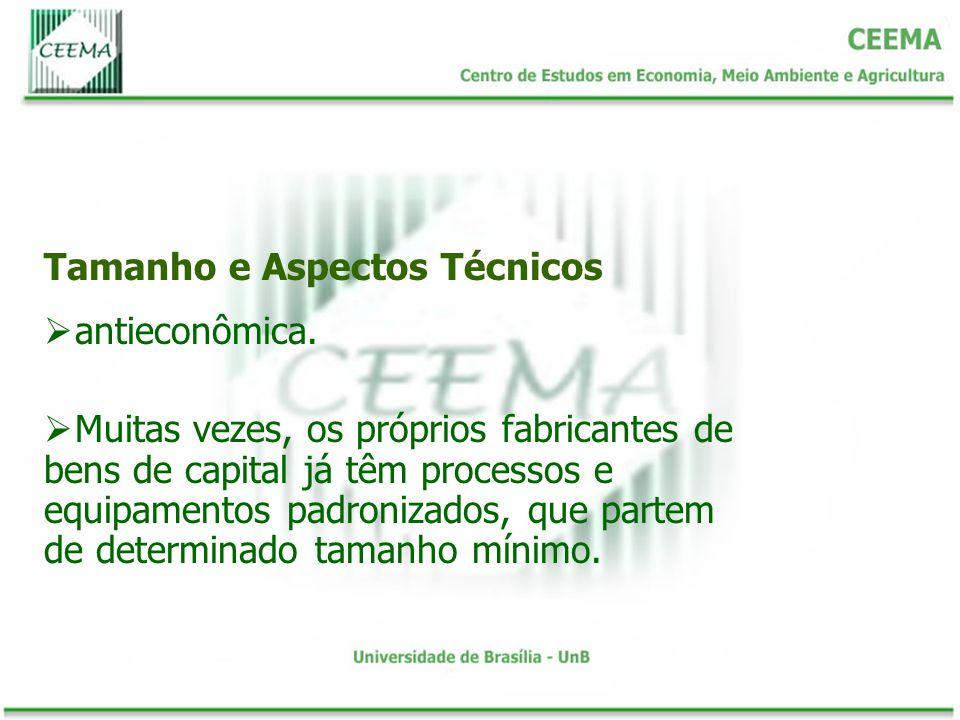 Tamanho e Aspectos Técnicos antieconômica.
