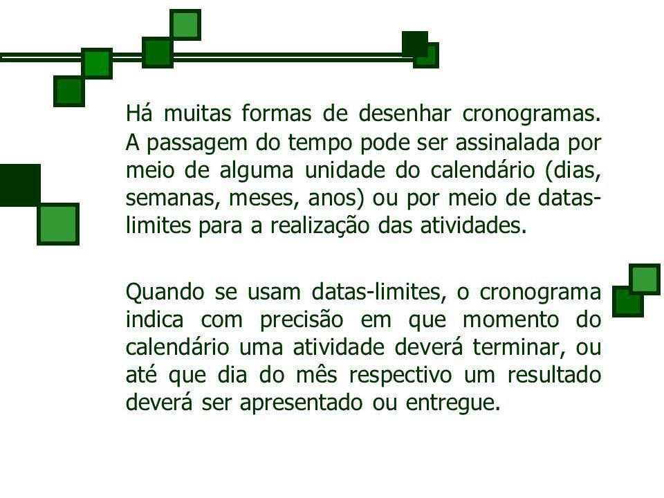 Um cronograma - ou gráfico de Gantt, é uma técnica de representação gráfica de decisões que mostra, dentro de um calendário, quando as atividades deve