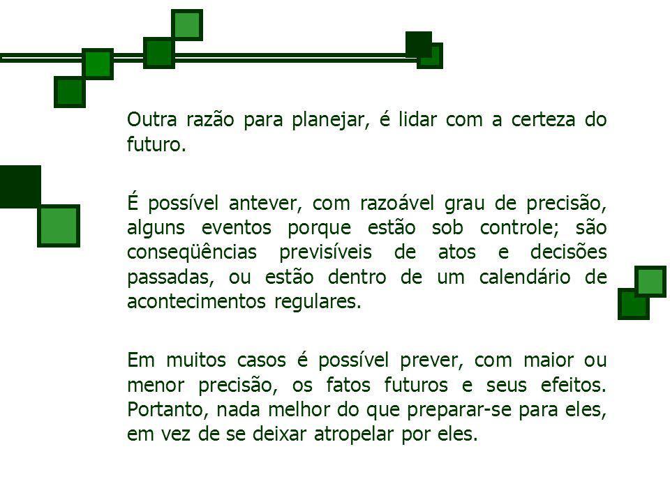 Planejamento Uma das razões para planejar é lidar com a incerteza do futuro. Incerteza é a condição que ocorre quando se dispõe de poucas informações