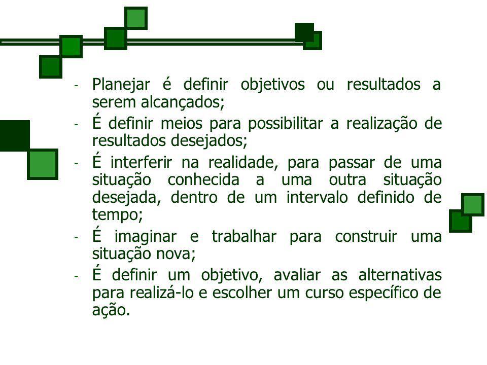Definição de Planejamento O processo de planejamento é uma aplicação específica do processo de tomar decisões.