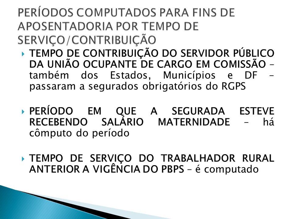 TEMPO DE CONTRIBUIÇÃO DO SERVIDOR PÚBLICO DA UNIÃO OCUPANTE DE CARGO EM COMISSÃO – também dos Estados, Municípios e DF – passaram a segurados obrigató