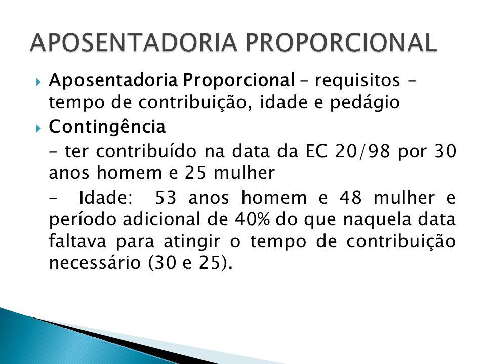 Aposentadoria Proporcional – requisitos – tempo de contribuição, idade e pedágio Contingência – ter contribuído na data da EC 20/98 por 30 anos homem