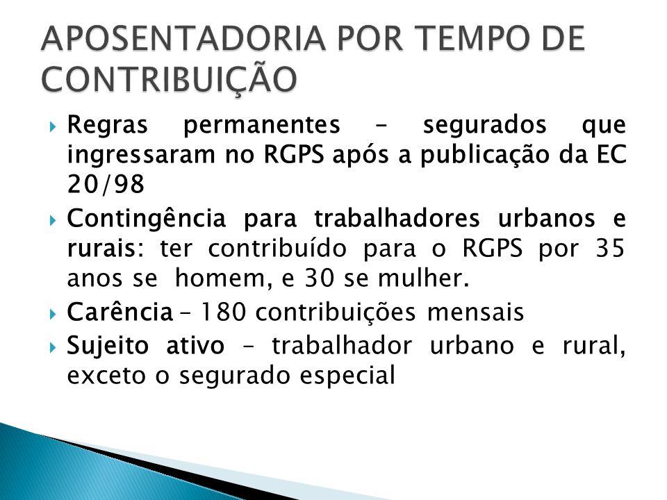 Regras permanentes – segurados que ingressaram no RGPS após a publicação da EC 20/98 Contingência para trabalhadores urbanos e rurais: ter contribuído