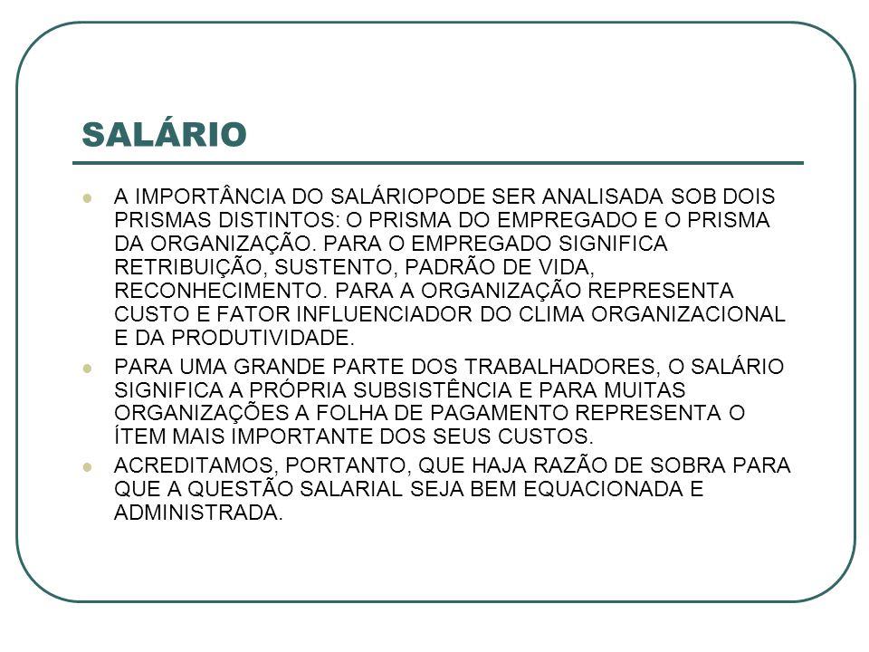 SALÁRIO A IMPORTÂNCIA DO SALÁRIOPODE SER ANALISADA SOB DOIS PRISMAS DISTINTOS: O PRISMA DO EMPREGADO E O PRISMA DA ORGANIZAÇÃO.