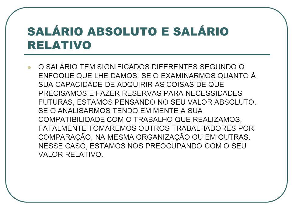 SALÁRIO ABSOLUTO E SALÁRIO RELATIVO TANTO UM SENTIDO COMO OUTRO DEVEM MERECER A ATENÇÃO DAS ORGANIZAÇÕES.