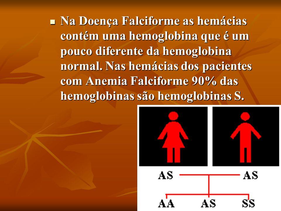 Na Doença Falciforme as hemácias contém uma hemoglobina que é um pouco diferente da hemoglobina normal. Nas hemácias dos pacientes com Anemia Falcifor