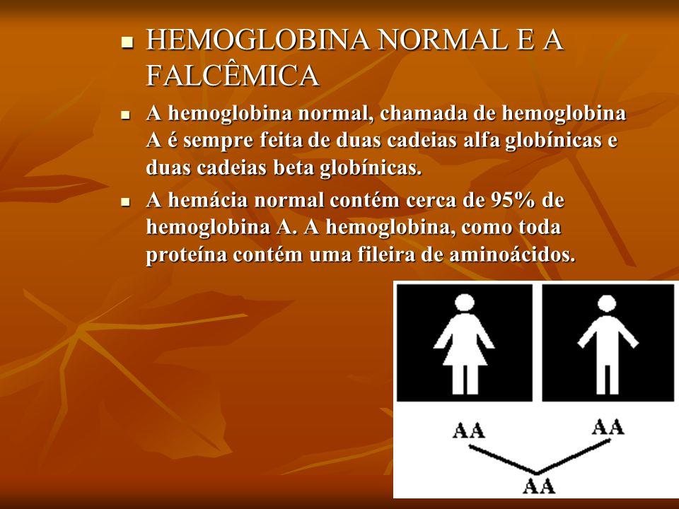 HEMOGLOBINA NORMAL E A FALCÊMICA HEMOGLOBINA NORMAL E A FALCÊMICA A hemoglobina normal, chamada de hemoglobina A é sempre feita de duas cadeias alfa g