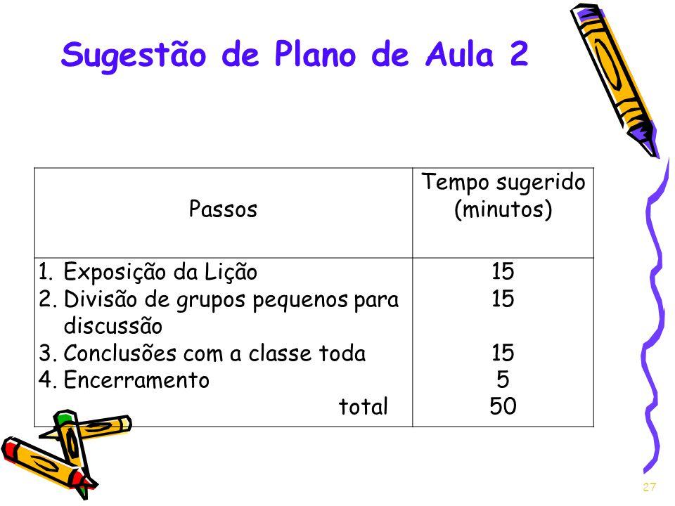 27 Passos Tempo sugerido (minutos) 1.Exposição da Lição 2.Divisão de grupos pequenos para discussão 3.Conclusões com a classe toda 4.Encerramento tota