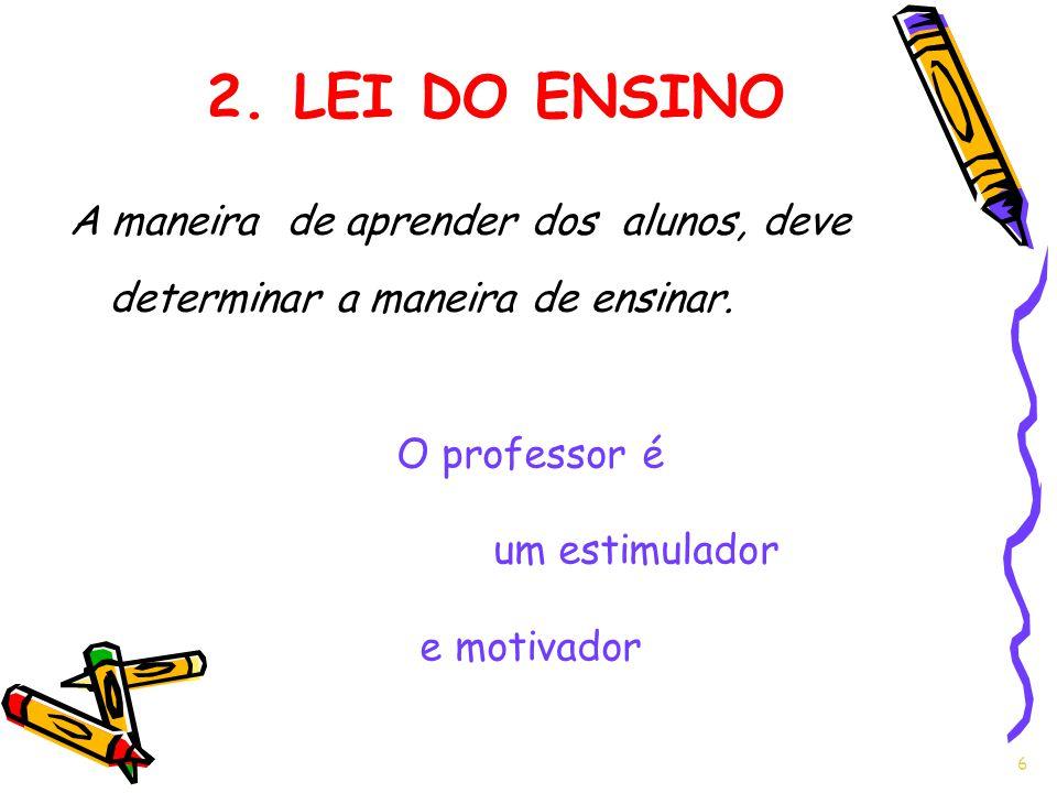 A maneira de aprender dos alunos, deve determinar a maneira de ensinar. 6 2. LEI DO ENSINO O professor é um estimulador e motivador