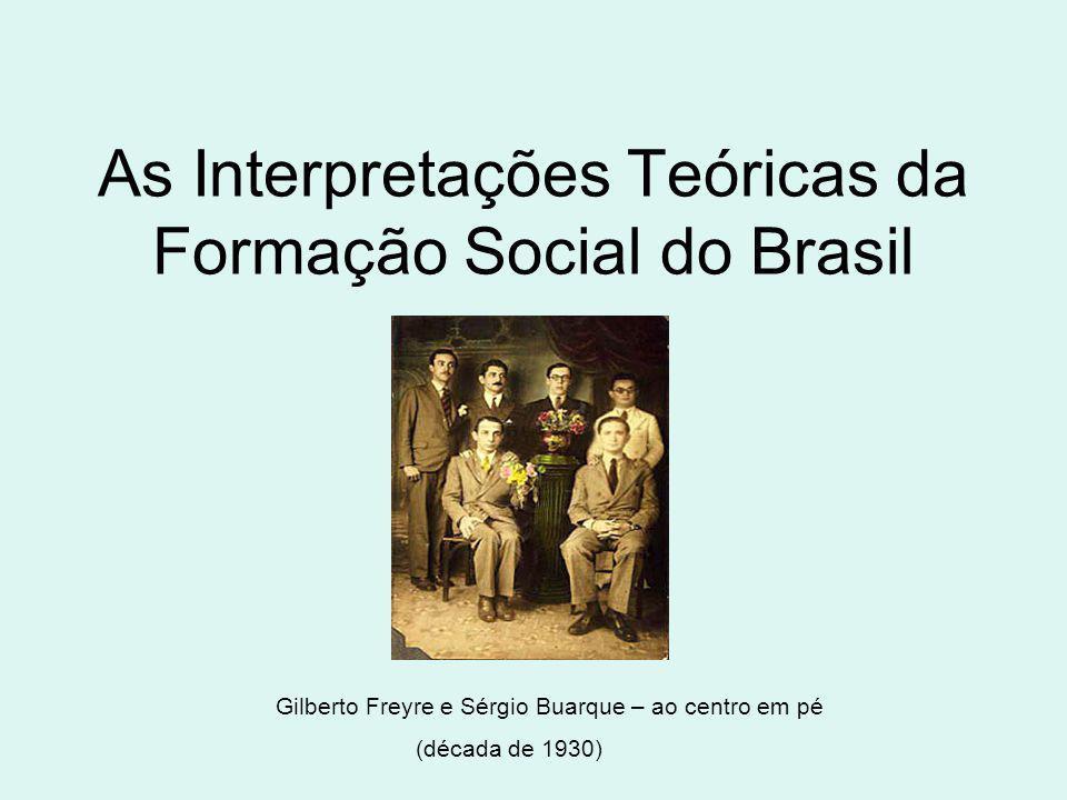 As Interpretações Teóricas da Formação Social do Brasil Gilberto Freyre e Sérgio Buarque – ao centro em pé (década de 1930)