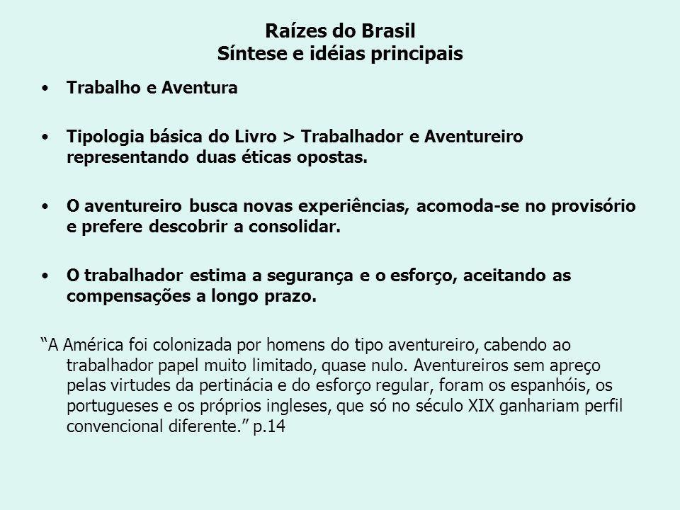 Raízes do Brasil Síntese e idéias principais Trabalho e Aventura Tipologia básica do Livro > Trabalhador e Aventureiro representando duas éticas opostas.