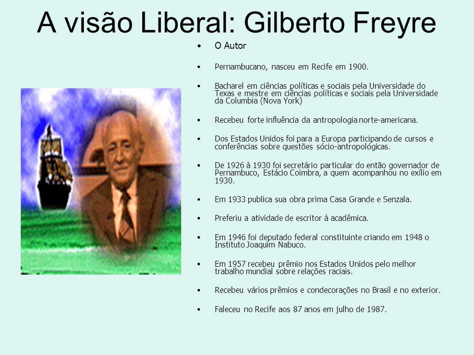 A visão Liberal: Gilberto Freyre O Autor Pernambucano, nasceu em Recife em 1900.