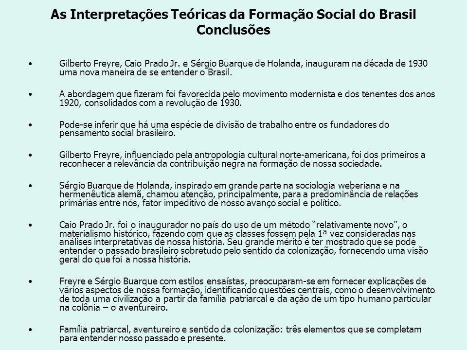 As Interpretações Teóricas da Formação Social do Brasil Conclusões Gilberto Freyre, Caio Prado Jr.