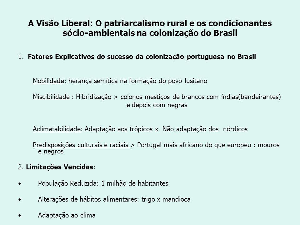 A Visão Liberal: O patriarcalismo rural e os condicionantes sócio-ambientais na colonização do Brasil 1.