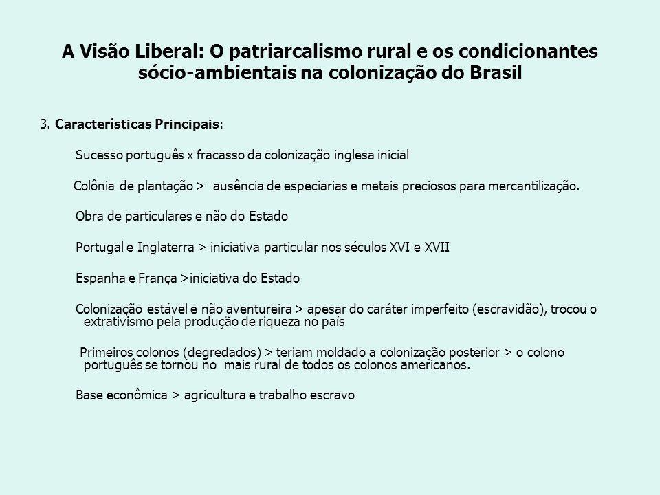 A Visão Liberal: O patriarcalismo rural e os condicionantes sócio-ambientais na colonização do Brasil 3.