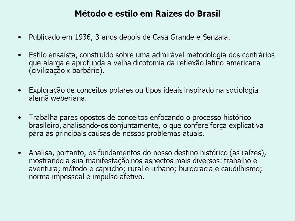 Método e estilo em Raízes do Brasil Publicado em 1936, 3 anos depois de Casa Grande e Senzala.