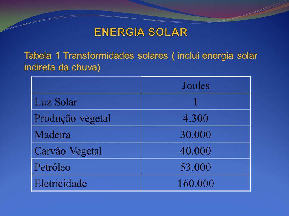 Tabela 1 Transformidades solares ( inclui energia solar indireta da chuva) Joules Luz Solar1 Produção vegetal4.300 Madeira30.000 Carvão Vegetal40.000