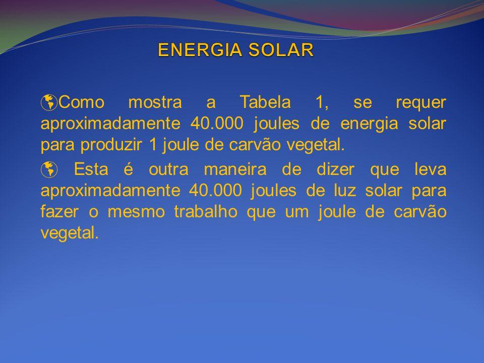 Como mostra a Tabela 1, se requer aproximadamente 40.000 joules de energia solar para produzir 1 joule de carvão vegetal. Esta é outra maneira de dize