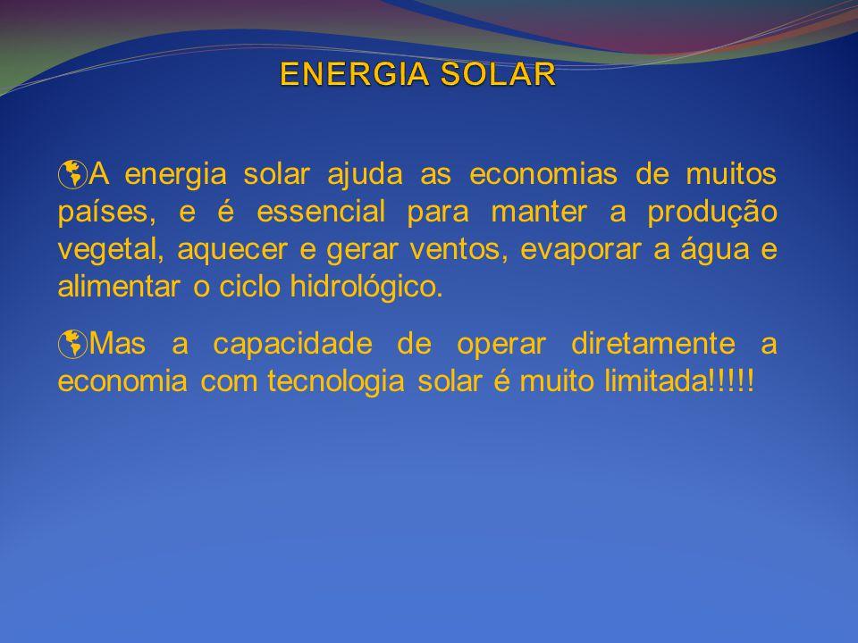 A energia solar ajuda as economias de muitos países, e é essencial para manter a produção vegetal, aquecer e gerar ventos, evaporar a água e alimentar