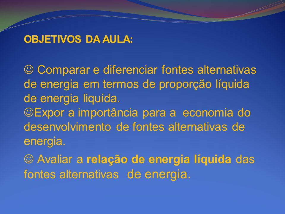 OBJETIVOS DA AULA: Comparar e diferenciar fontes alternativas de energia em termos de proporção líquida de energia liquída. Expor a importância para a