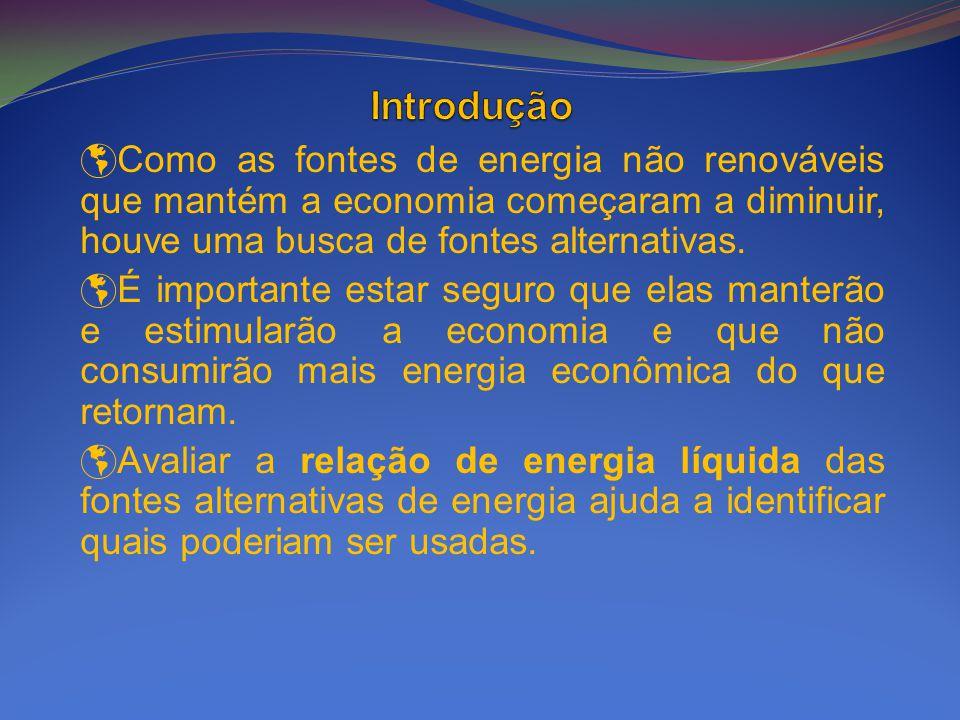 Para propor novas fontes de energia que possam ser utilizadas atualmente, sua razão de energia líquida deve ser maior que 1.