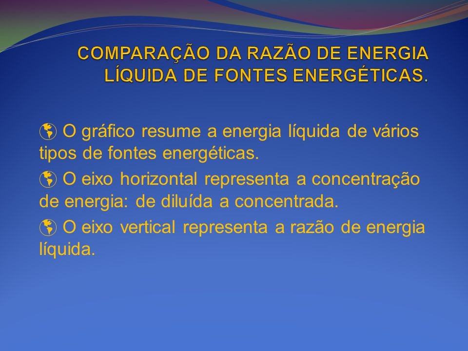 O gráfico resume a energia líquida de vários tipos de fontes energéticas. O eixo horizontal representa a concentração de energia: de diluída a concent