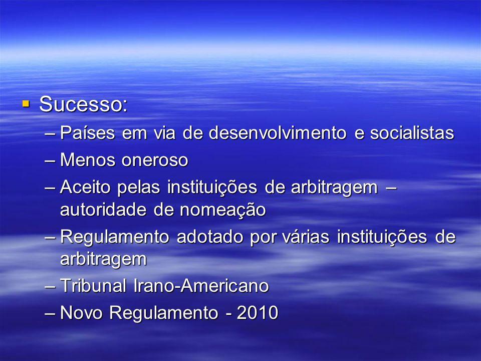 Sucesso: Sucesso: –Países em via de desenvolvimento e socialistas –Menos oneroso –Aceito pelas instituições de arbitragem – autoridade de nomeação –Re