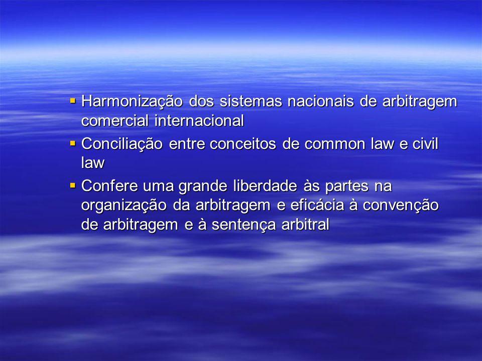 Harmonização dos sistemas nacionais de arbitragem comercial internacional Harmonização dos sistemas nacionais de arbitragem comercial internacional Conciliação entre conceitos de common law e civil law Conciliação entre conceitos de common law e civil law Confere uma grande liberdade às partes na organização da arbitragem e eficácia à convenção de arbitragem e à sentença arbitral Confere uma grande liberdade às partes na organização da arbitragem e eficácia à convenção de arbitragem e à sentença arbitral