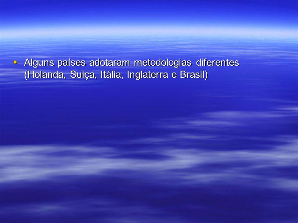 Alguns países adotaram metodologias diferentes (Holanda, Suiça, Itália, Inglaterra e Brasil) Alguns países adotaram metodologias diferentes (Holanda,