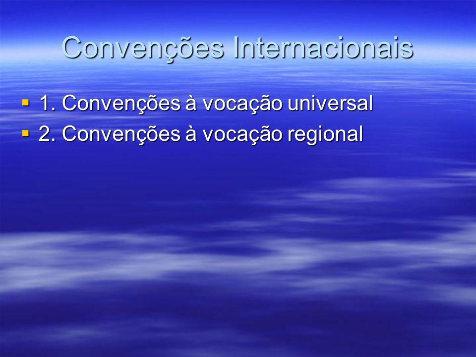 Convenções Internacionais 1. Convenções à vocação universal 1. Convenções à vocação universal 2. Convenções à vocação regional 2. Convenções à vocação