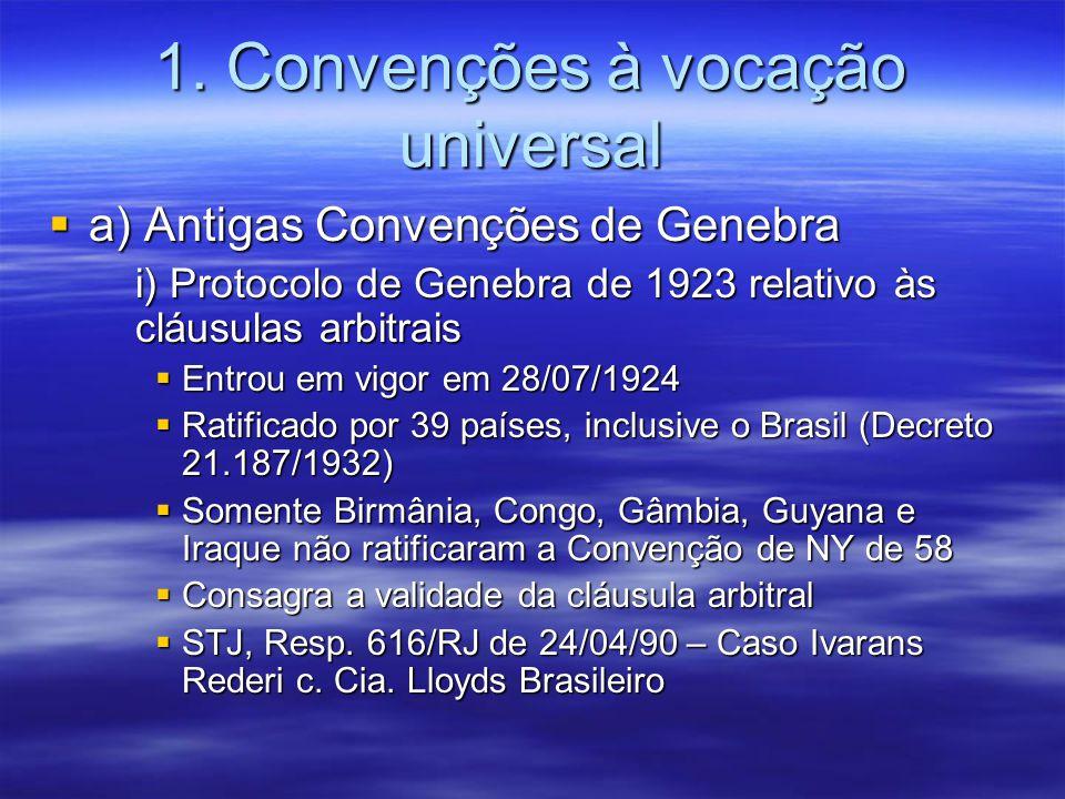 1. Convenções à vocação universal a) Antigas Convenções de Genebra a) Antigas Convenções de Genebra i) Protocolo de Genebra de 1923 relativo às cláusu