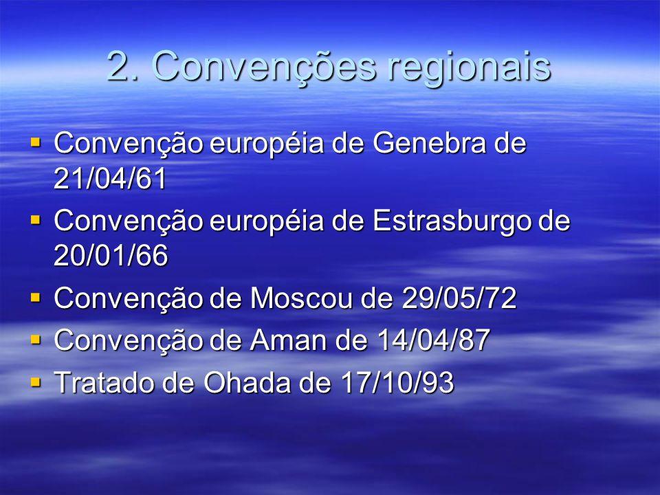 2. Convenções regionais Convenção européia de Genebra de 21/04/61 Convenção européia de Genebra de 21/04/61 Convenção européia de Estrasburgo de 20/01